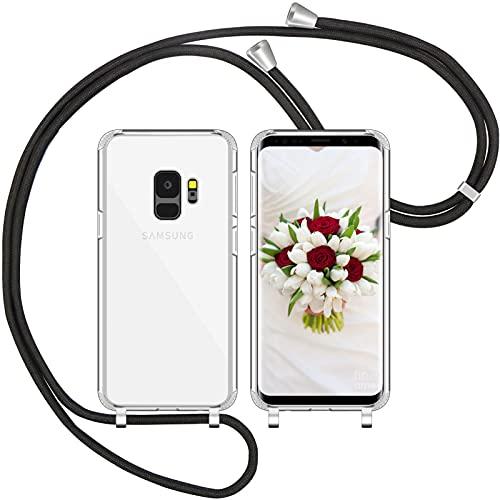 Nupcknn Handykette Hülle für Samsung Galaxy S9 Hülle TPU Bumper+PC Back Necklace(abnehmbar) Transparent Hülle mit Kordel zum Umhängen Handy Schutzhülle mit Band(Schwarz)
