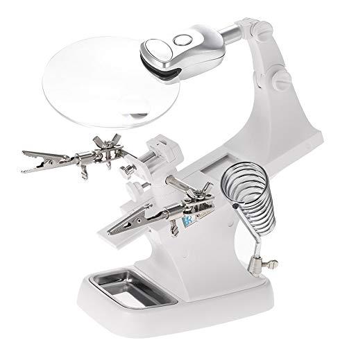 MMOBIEL Support pour Fer à souder complet Troisième Main avec Loupe, Lampe LED et Pinces rotatives 360°