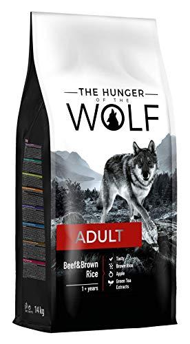 The Hunger of the Wolf, cibo secco per cani adulti, manzo e riso integrale, per tutte le razze, formula delicata, 14 kg