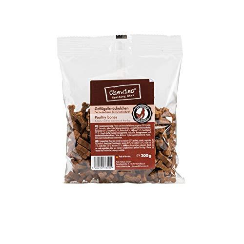 Chewies Hundeleckerli Geflügel MAXI Knöchelchen - 4 x 200 g - Trainingsleckerli für Hunde - Fleisch Softies ohne Zucker - Hundesnacks mit hohem Fleischanteil (800 g)
