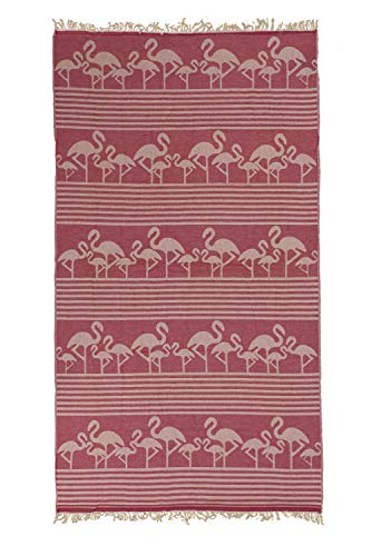 TEXTIL TARRAGO Toalla de Playa fouta hamman Flat 100% Algodon Egipcio 90x170 cm flamencos Rosa FAC09