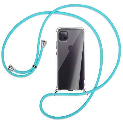 mtb more energy Collana Smartphone per Motorola Moto G 5G (6.7'') - Turchese - Custodia indossabile per Collo - Cover a Tracolla con cordina