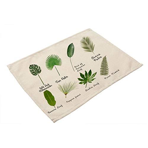 LDGR 1Pcs Grünes Blatt Pflanze Muster Küche Tischset Coaster Esstisch Mats Baumwollleinen Pad Bowl-Schalen-Matte 42 * 32cm Home Decor (Color : F)