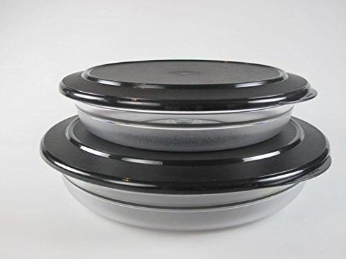 TUPPERWARE Tafelperle 2,0 L schwarz flach + 1,3L Schale Servieren Classic Royal