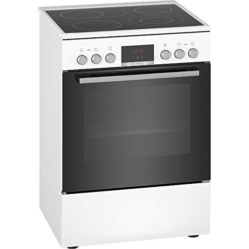 Bosch HKR39C220 Serie 4 Freistehender Elektroherd / A / 60 cm / Weiß / Klapptür / Versenkknebel / 3D Heißluft / EcoClean Direct / Glaskeramik / erweiterbare Kochzone