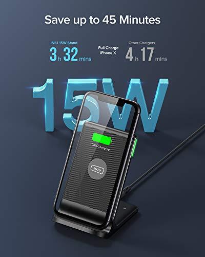 INIU Cargador Inalámbrico Rápido, 15W Qi Wireless Charger Estación Compatible con iPhone 12 11 Pro MAX XR XS X 8 Plus Samsung Galaxy S20 S10 S9 S8 Note10 9 AirPods Huawei Xiaomi etc