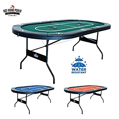 "Hot Hand Poker Supply | Water-Resistant Speed Felt | 10 Player Folding Poker Table | Portable | Easy Storage | No Assembly Required | 84"" L x 42"" W x 30"" H 