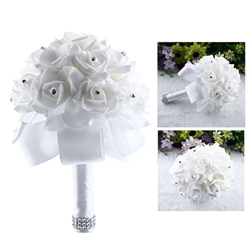 Itian Bouquet da Sposa di Fiori Artificial Rose Fiori da Sposa Decor(Bianco)