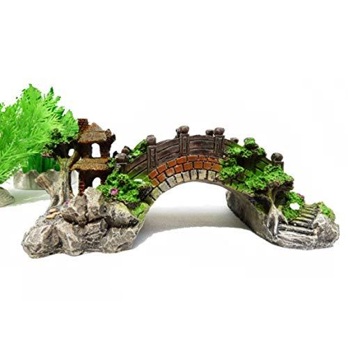 73JohnPol Aquarium Landschaftsbau Dekorative Brücke Aquarium Zubehör Resin Bridge Turtle Climbing Platform Vintage Bogenbrücke, Mehrfarbig (Größe: S