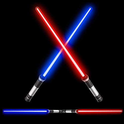 TWODNBD 2-in-1 Laser Sword, Newest Light Up LED 7 Colors FX Dual Saber with Sound (Motion Sensitive) for Kid, Galaxy War Fighters and Warriors, Stocking Idea, Xmas Presents - 2 Pack