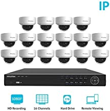 LaView Premium PoE IP 16 Camera Security Surveillance System Home/Business 16 Weatherproof IP 2MP Dome Cameras 1080P Resolution, 16 Channel 1080P HD NVR with a 3 TB HDD,