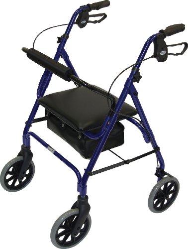 Days Andador de cuatro ruedas ligero y plegable con asiento acolchado, frenos de bloqueo, mangos ergonómicos y bolsa de transporte, ayudas a la movilidad, mediano, azul
