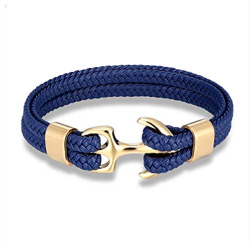 ABWEY Pulsera de acero de titanio trenzado de cuero negro para hombre, patrón de ancla, pulsera de cuero de acero inoxidable, cuerda de cuero-Azul C