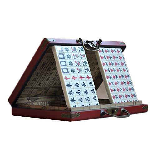 YBWEN Mahjong Antiek Mini Mahjong Set met Houten Hoesje Kleine Mahjong Retro Gift Box Bordspel