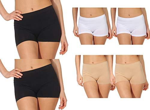 simaranda 6er Pack Damen Slips Seamless Unterwäsche Panty Boxershorts Unterhose Microfaser 20 (XL/XXL, Schwarz/Weiß)
