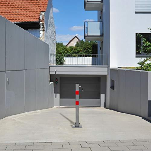 Relaxdays Absperrpfosten quadratisch H x B x T: 65x15x13 cm Sperre von Parkplatz oder Durchfahrt klappbarer Pfeiler mit 3 Schlüsseln für Schloss als Pfosten mit roten Warnstreifen, anthrazit - 2