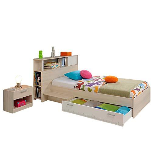Funktionsbett Charly 90 * 200 cm inkl. Kopfteil(Regal) + Bettkasten + Ablagetisch + Nachtkommode Akazie grau weiß Jugend Kinderzimmer Kinderbett