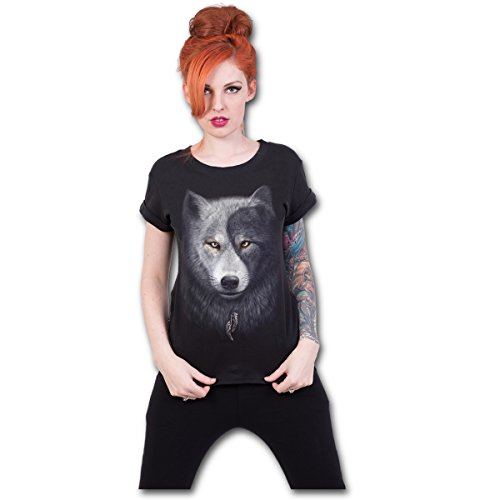 Spiral Direct Wolf Chi-Boatneck Cap Sleeve Top Camiseta, Negro (Black 001), 40 (Talla del Fabricante: Medium) para Mujer