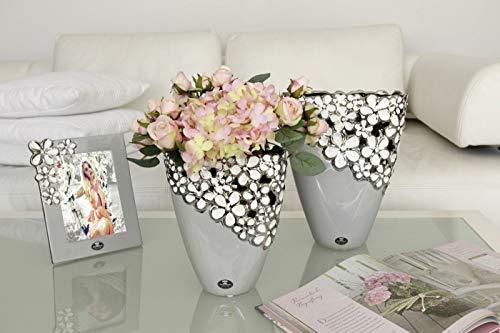 GILDE Keramik breite Vase Diana Grey VE 2 (B x H x L) 18 x 22,5 x 0 cm grau/Weiss/Silber 2 Stück Einer Größe