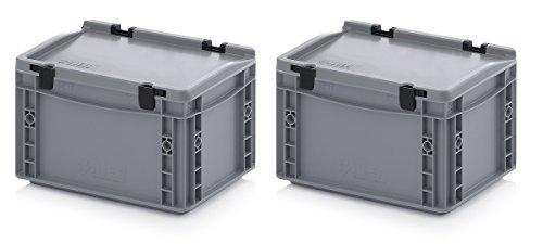 2x Eurobehälter 30 x 20 x 18,5 cm mit Scharnierdeckel inkl. gratis Zollstock 2er Set