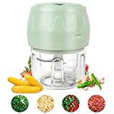 Semlos 250ML Mini Electric Garlic Chopper, USB Charging Food Chopper Mincer Blender Mixer, Fits for Cutter Vegetables, Meat, Fruits, Kitchen Gadgets(Green)