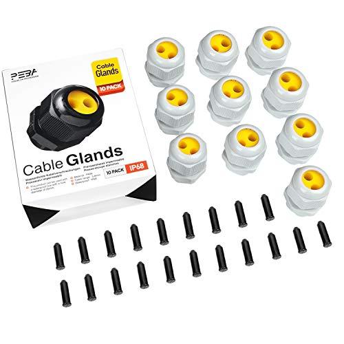 Kabelverschraubung Set Wasserdichte IP68 Kabelsteckverbinder mit Gegenmutter Kunststoff M25 für 4-8mm Kabeldurchmesser Weiß 2 Löcher(10er-Pack)