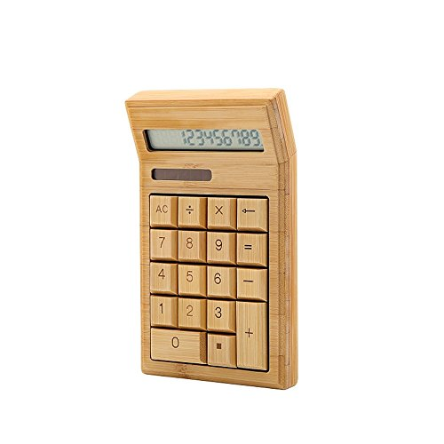 Aibecy Umweltfreundlicher Taschenrechner aus Bambus, 12-stelliger Standard-Funktion, mit Dual-Akku für den Einzelhandel in der Schule, zu Hause