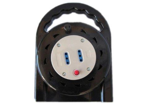 Electraline 49023 Prolunga con Avvolgiamo, 2 Prese 10 A, Lunghezza Cavo 5 m, Sezione Cavo 3x1 mm, Nero/Grigio