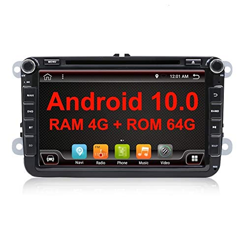 EUNAVI Android 10.0 Car Radio for VW Skoda Seat, with DSP PX6 System MirrorLink BT 5.0, Supports DAB + CD DVD RDS Android Car WiFi 4G USB MicroSD 2 Din 8 Inch Screen (8