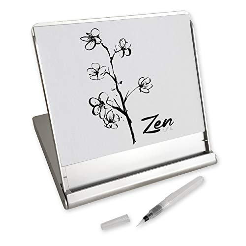 Zen Artist Board, Fusion, Paint with Water Relaxation Meditation Art, Relieve Stress, Small Travel Size Magic Drawing Watercolor with Brush