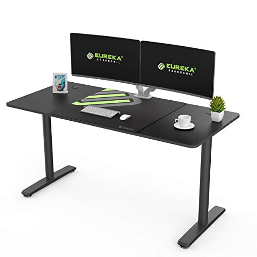 EUREKA ERGONOMIC I-Shape Computer Desk 60 Inch Multi-Functional Home Office Study Writing PC Gaming Desk Laptop Table Computer Workstation with Free Large Mousepad, Black