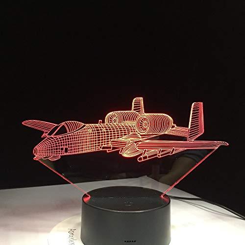 shiyueNB afstandsbediening vliegtuig 3D licht LED tafellamp illusie nachtlampje 7 kleuren sfeerwissel lamp 3AA batterij aangedreven USB-lamp