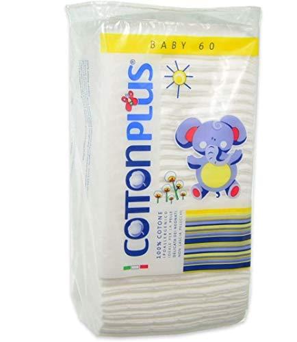 Cotton Plus Quadrotti Baby 100% Cotone 60 pezzi - 6 confezioni