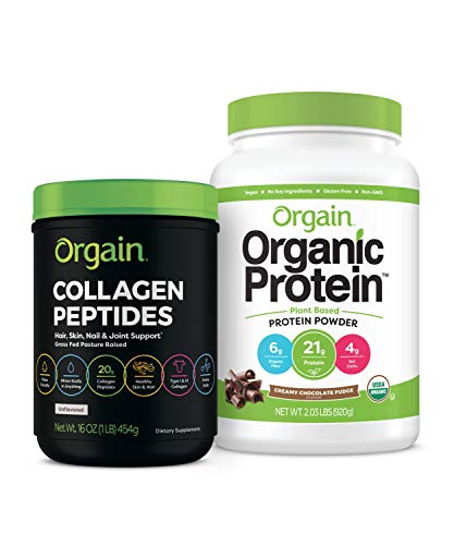 Orgain Organic Plant Based Protein Powder, Creamy Chocolate Fudge - Vegan, Low Net Carbs, Non Dairy, Gluten Free, No Sugar Added, Soy Free, Kosher, Non-GMO, 2.03 Lb (Packaging May Vary)