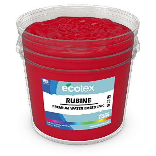 Ecotex RUBINE RED Water Based Discharge Ink for Screen Printing - Non Phthalate Formula for Fabric/Textiles - GALLON-128 oz.