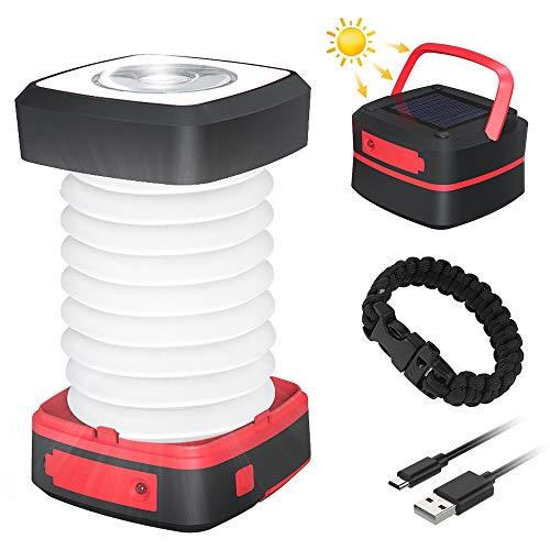 Farol Camping Recargable, GlobaLink Luz Camping Solar Linterna Camping Lampara Camping LED 140LM Carga Solar/USB Luz Baja/Alta/Parpadeo Ligero Plegable Portátil para Acampada, con USB Cable y Pulsera