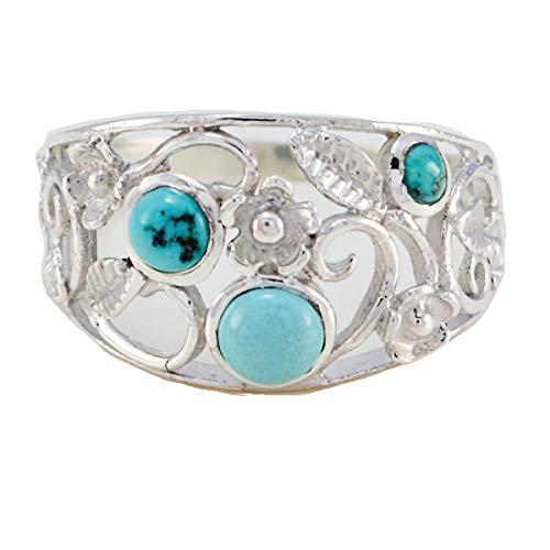 joyas plata piedras preciosas reales forma redonda anillo de tres piedras cabujón turquesa - anillo turquesa multicolor de plata de ley 925 - escorpio nacimiento de noviembre