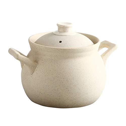 LIUSHI Pot en Argile rétro avec Couvercle Cocotte binaurale Ustensiles de Cuisine Faits à la Main Pot en Terre Ronde Résistance aux Hautes températures (Taille: 5L)