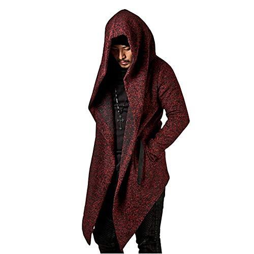 Men's Long Sleeve Trench Hooded Cardigan Coat Irregular Hem Open Front Jackets Loose Fit Windbreaker Overcoat(Wine-L)
