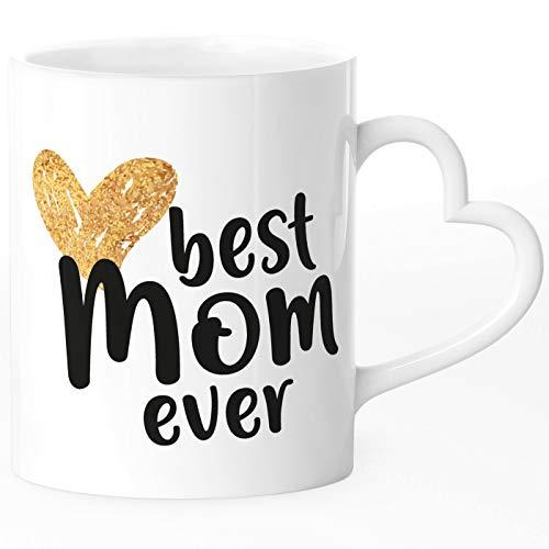 SpecialMe® Taza de café Best Mom ever regalo para mamá, día de la madre, cumpleaños, Navidad, gracias, Best Mom Ever - Auriculares de diadema, color blanco, Herz-Tasse
