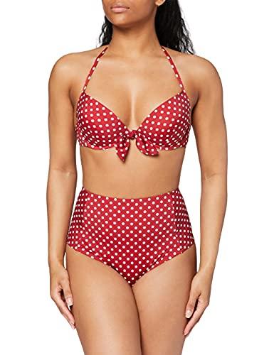 Marca Amazon - IRIS & LILLY Conjunto de Bikini Mujer, Rojo (Red/White Polka Dot), L, Label: L