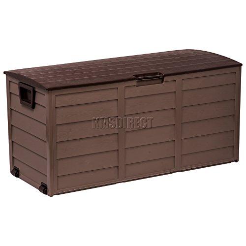 Starplast Kunststoff-Aufbewahrungsbox für Garten oder Schuppen, für Gartenmöbelpolster, mit Deckel und Rädern, Farbe Schoko und Mokka, Fassungsvermögen: 227 Liter