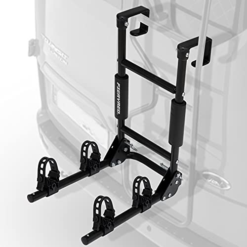 FIERYRED Ladder Mount Bike Rack - 2-Bike Bicycle Carrier Rack for RV Ladders,Folds for Convenient Storage,Easy Installation