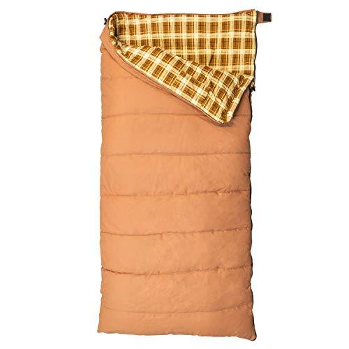 Kamp-Rite 35 x 78 Inch Outdoor Indoor Camping Flannel Cotton Canvas Rectangular Sleeping Bag 0 Degree, Kakhai