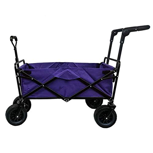 LIYONG Storage Trolleys Folding Garden Trolley Cart Heavy Duty Wagon Multi-Function Shopping Cart for Outdoor Camping Photography Double Push-Pull Rod Truck, Load: 100Kg,Purple HLSJ (Color : Purple)