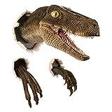 mingsheng Decoración 3D Dinosaur Decoration Velociraptor Set Resin Wall Atmosphere Decorative Props