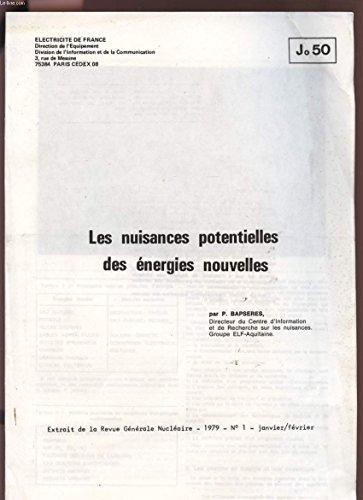 LES NUISANCES POTENTIELLES DES ENERGIES NOUVELLES - EXTRAIT DE LA REVUE GENERALE NUCLEAIRE - 1979 - N°1 - JANVIER / FEVRIER - Jo50.