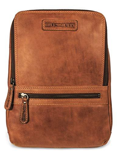 Hill Burry Leder Rucksack | aus weichem hochwertigem Rindsleder - Vintage Cityrucksack | Collegerucksack - Outdoorrucksack Bag - Lederrucksack (Braun)