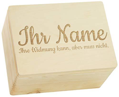 LAUBLUST Große Holzkiste - Personalisiert mit Individueller Wunsch-Gravur - 40x30x24cm, Natur, FSC® - Geschenk-Kiste | Aufbewahrungskiste | Erinnerungs-Box