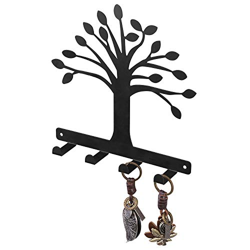 MyGift 4-Hook Matte Black Tree of Life Design Wall Mounted Entryway Key Hook Rack